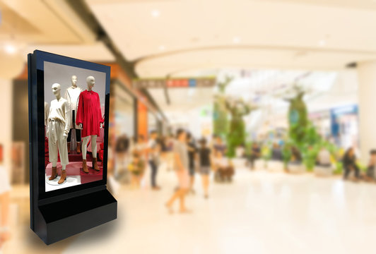 Marketing and advertisement concept digital signage billboard clothes fashion lifestyle for your text message or media content in department store shopping mall