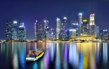 Fotomurales - Singapore cityscape skyline ,night scene .