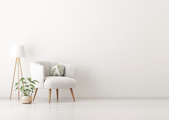 Living room interior wall mockup with gray velvet armchair, round pillow with tropical pattern, standing lamp and plant in basket on empty white wall background. 3D rendering, illustration. Fototapete