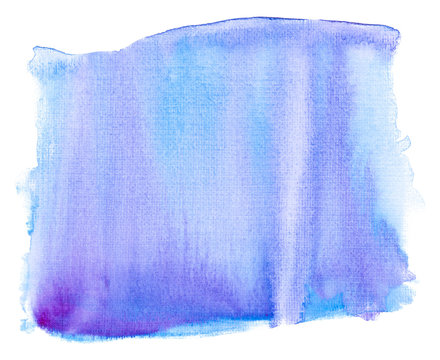 watercolor rectangle watercolor stain blue on white background isolated