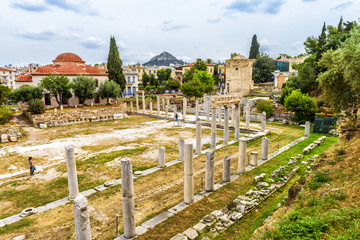 Fototapete - Panorama of Roman Agora, Athens, Greece. It is one of the top landmarks of Athens. Scenery of Ancient Greek ruins in the Athens center near Plaka district. Scenic remains of the antique Athens city.