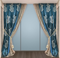 Stylish interior design with luxurious curtains and tulle adorning the dressing room doors