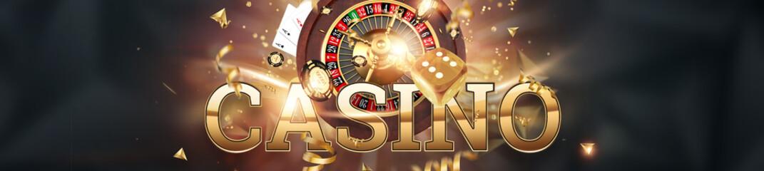 Fototapeta Creative background, inscription casino, roulette, gambling dice, cards, casino chips on a dark background. The concept of gambling, casino, winnings, Vegas Games. 3D render, 3D illustration.