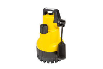 Submersible drainage pump for clear swimming pool water  isolated on a white background.