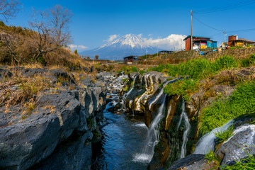 Wall Mural - Fuji mountain and waterfalls in Japan.