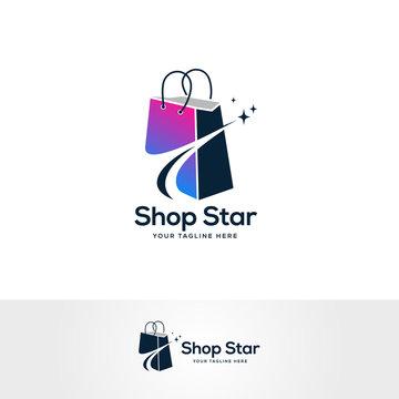 shop star logo designs, shopping bag logo symbol