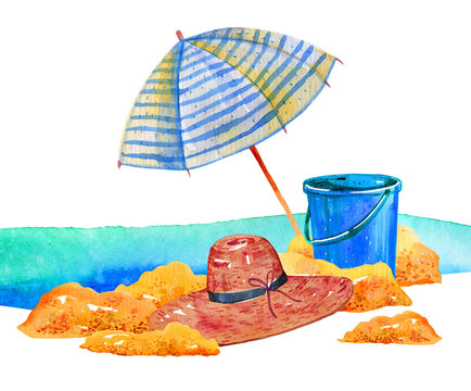 Beach scene. Parasol, bucket and hat on the sand
