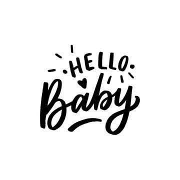 Hand drawn lettering hello baby for print, card, poster, decor. Kids lettering for baby shower.