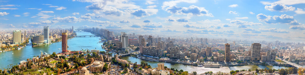 Cairo downtown on the bank of the Nile, aerial panorama Papier Peint