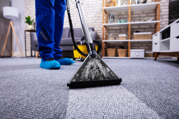 Person Cleaning Carpet With Vacuum Cleaner Wall mural