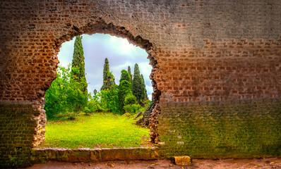 hole in wall garden eden gate horizontal background broken