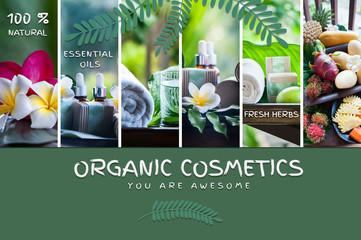 Fototapeta Organic cosmetics, natural fruit oils. Photo and illustration, cartoon style.  Concept spa, skin care, ecological and organic natural cosmetics.