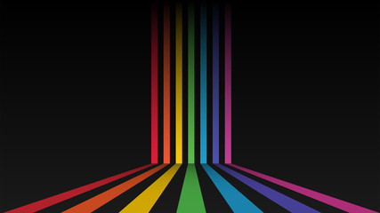 Abstract colorful background. Rainbow stripes on dark background. Vector illustration.