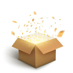White gift box confetti explosion. Magic open surprise gift box package decoration