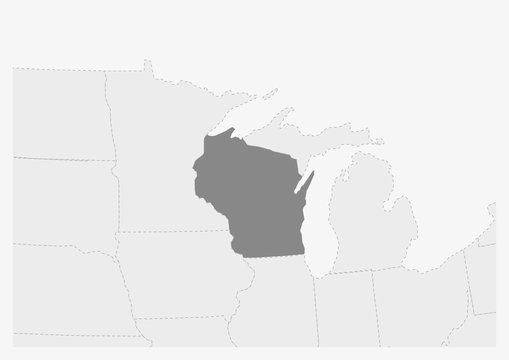 Map of USA with highlighted Wisconsin state map
