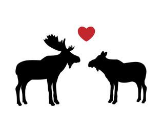 Elk moose love mammal black silhouette animal. Vector Illustrator