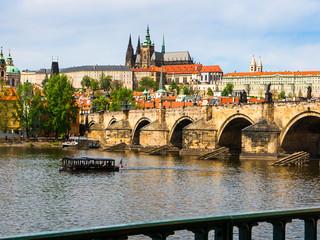 the River Vltava flows through the city of Prague