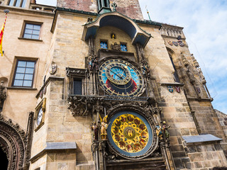 The Prague Astronomical Clock is a medieval astronomical clock.The Clock is mounted on the southern wall of Old Town City Hall in the Old Town Square.