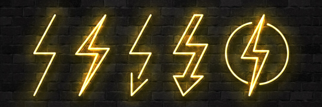 Vector set of realistic isolated neon sign of Electricity logo for template decoration and covering on the wall background. Concept of lightning and energy.