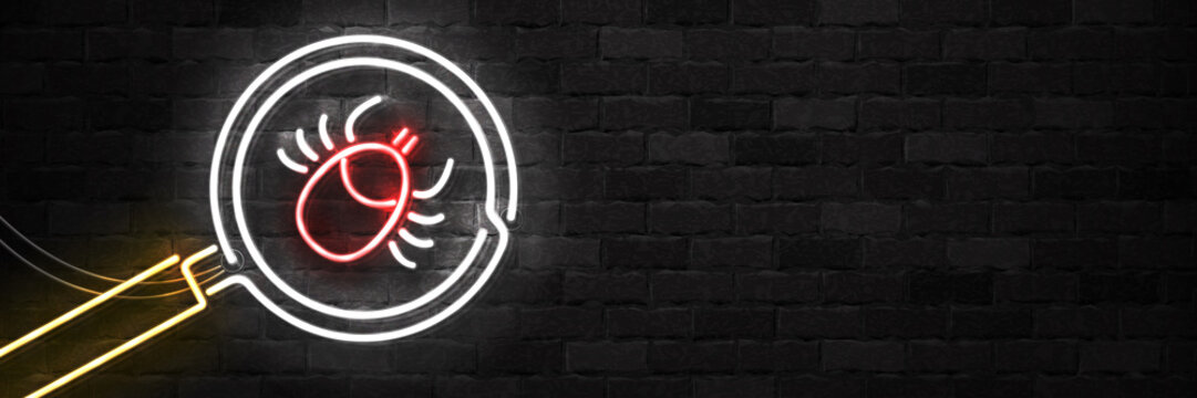 Vector realistic isolated neon sign of Ixodes Tick warning logo for template decoration and covering on the wall background. Concept of mite danger, disease and encephalitis precaution.