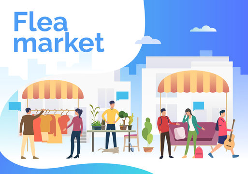 Flea market lettering, people selling clothes and plants outdoors. Buying, retail, marketplace concept. Presentation slide template. Vector illustration for topics like business, shopping, flea market