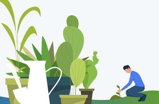 Man growing plant outdoors and green houseplants in pots. Leaves, nature, agriculture concept. Vector illustration can be used for topics like botany, planting, gardening