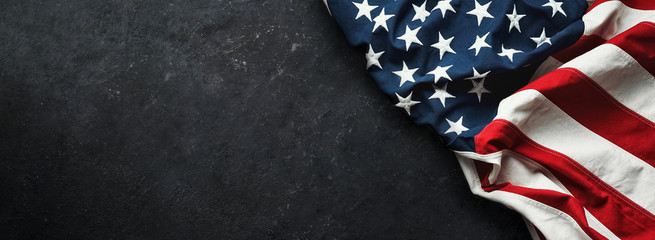 United States Flag On Black Background Fotomurales