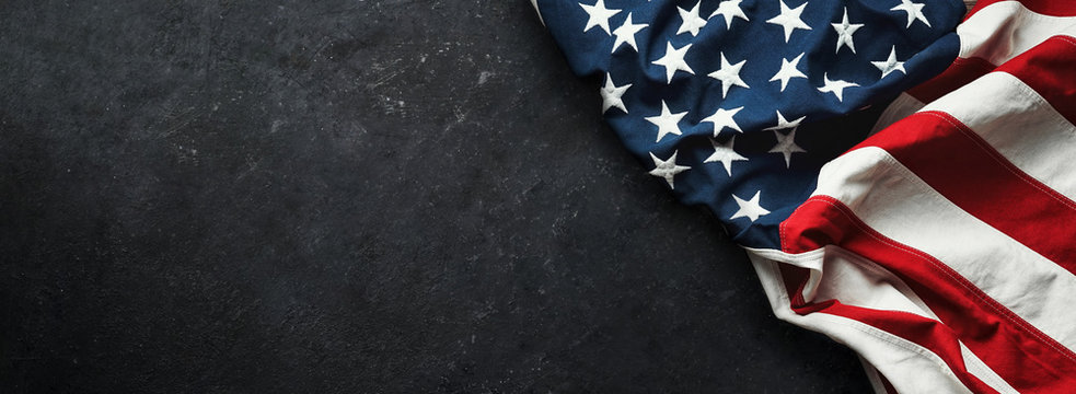 United States Flag On Black Background