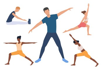 Set of yogi. Men and women doing yoga, holding poses, stretching muscles. Sport concept. Vector illustration can be used for topics like fitness or body training