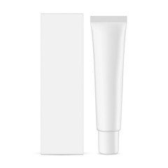 Plastic cosmetic tube with cardboard rectangular box mockup isolated on white background - front view. Vector illustration