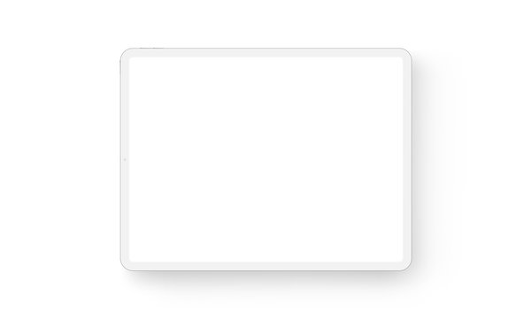 Clay tablet computer horizontal mockup - front view. Vector illustration