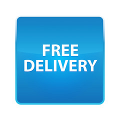 Free Delivery shiny blue square button