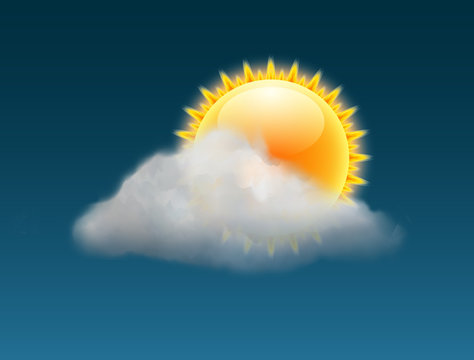 Cloud sky vector weather backgrund. Sun illustration warm day sunny icon forecast banner