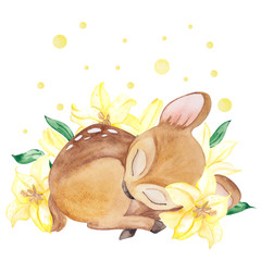 Watercolor illustration with cute sleeping and flowers of white lilly