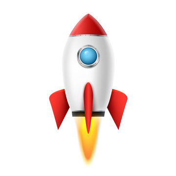3d rocket space ship launch background. Realistic rocketship spaceship vector design. Shuttle creative icon