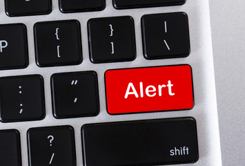 Alert word on red computer keyboard button