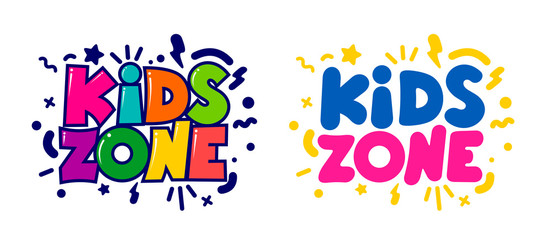 Kids zone cartoon logo. Set of design colorful bubble letters for children's playroom decoration. Flat design element. Vector illustration. Isolated on white background.
