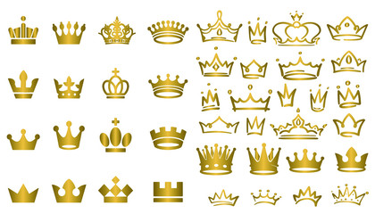 Big collection of vector crown silhouettes in vintage style Vector illustration