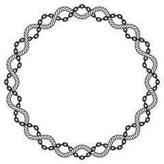 Vector ring rope and chain frame border line