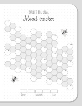 Mood tracker with honeycombs and bees for 31 days of a month. Bullet journal monochrome blank page template with numbers for each day.