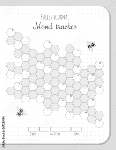 picture regarding Bullet Journal Mood Tracker Printable named Temper tracker with honeycombs and bees for 31 times of a thirty day period