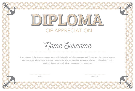 Vector format certificate template in classical style rope frame border line with anchors