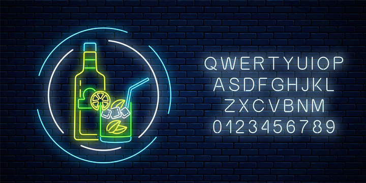 Neon sign of tequila bar with bottle and drink in glass with alphabet. Mexican drink emblem in neon style.