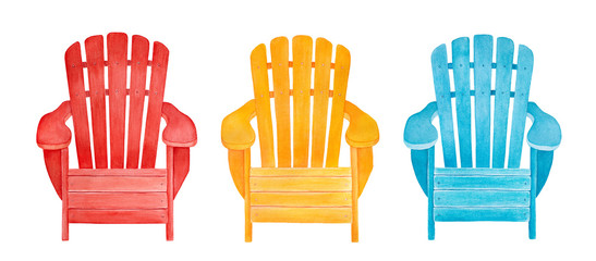 Colorful outdoor lounge chair collection. Cute summer time illustration. Hand drawn watercolour graphic drawing, cutout clip art elements for creative design decoration, print, greeting card, frame.