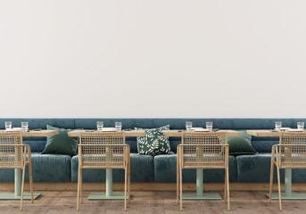 Сafe interior with soft blue sofa