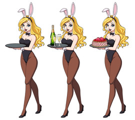 Cartoon sexy pin up bunny girl with champagne and cake.