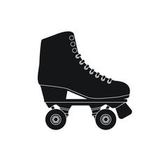 Vector flat cartoon black icon logo roller skate isolated on white background
