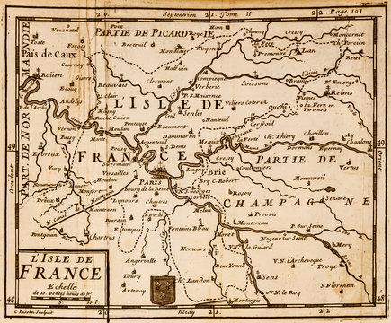 Old map of the Paris region. Vintage. Ile de France