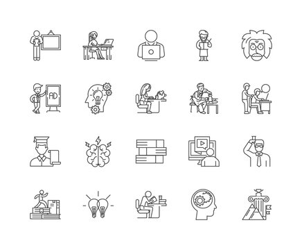 Adult education line icons, linear signs, vector set, outline concept illustration