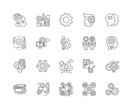 App developer line icons, linear signs, vector set, outline concept illustration